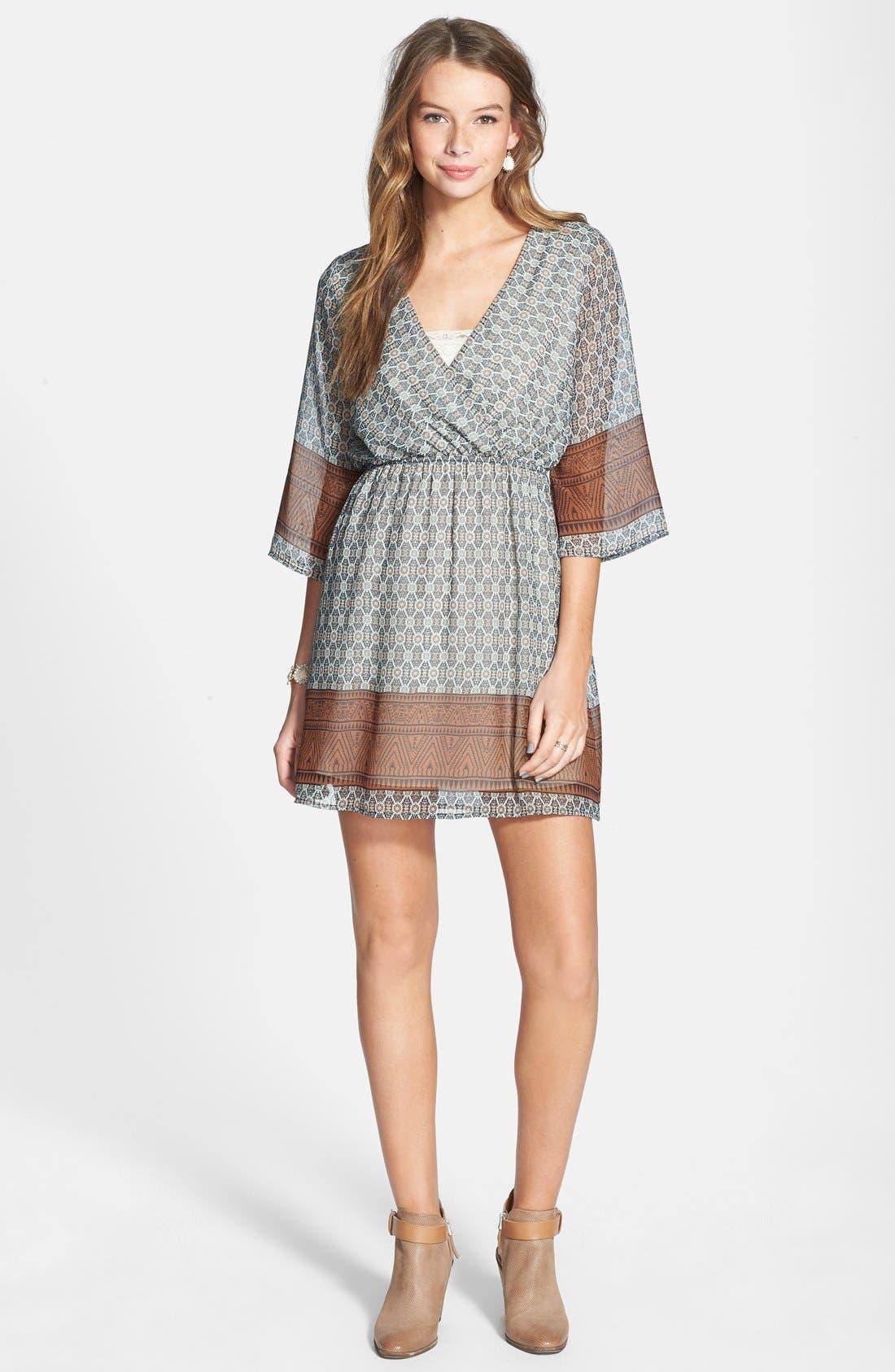 Alternate Image 3  - Everly Border Print Surplice Dress (Juniors)