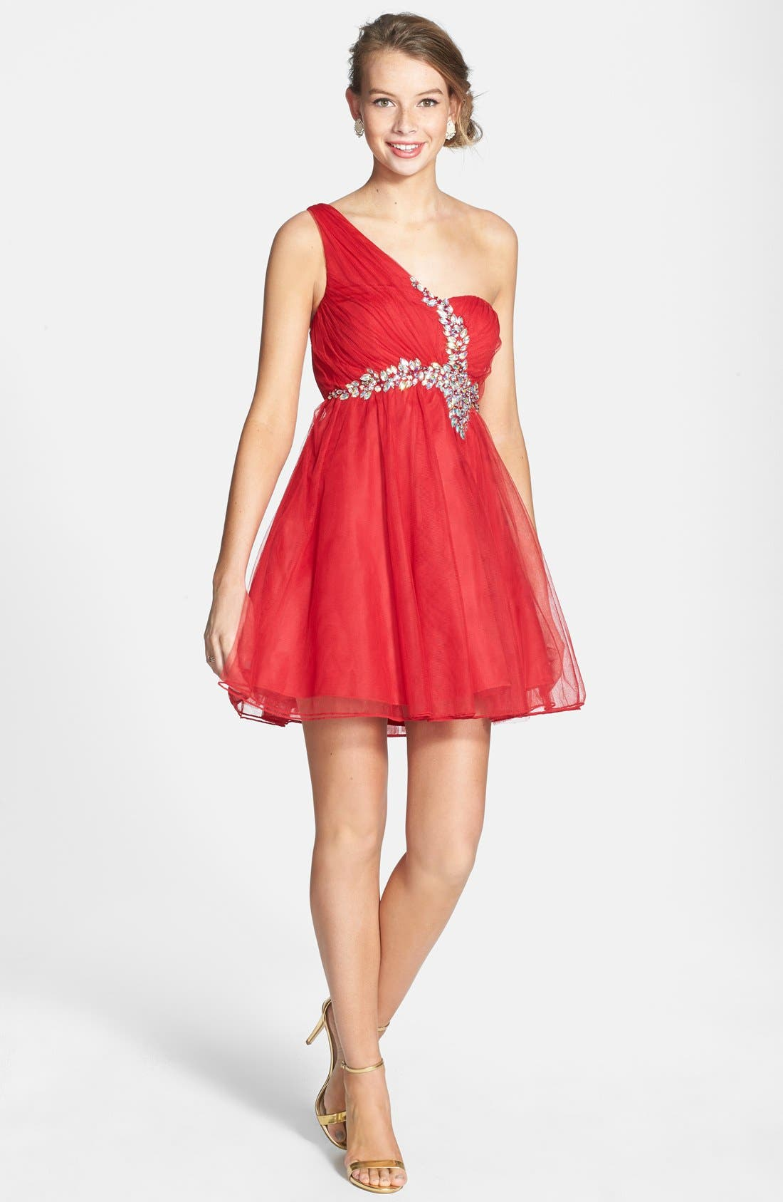 Alternate Image 3  - Sequin Hearts Single Shoulder Party Dress (Juniors)