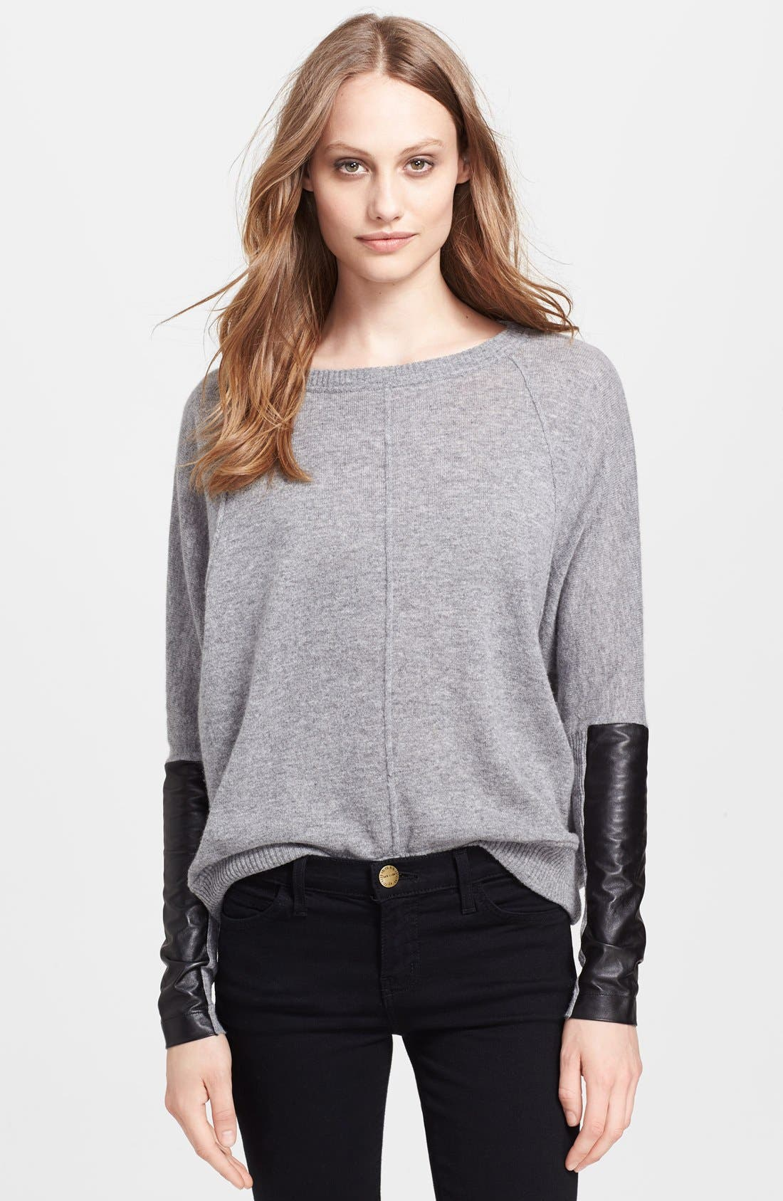Main Image - autumn cashmere Leather Patch Dolman Sleeve Cashmere Sweater