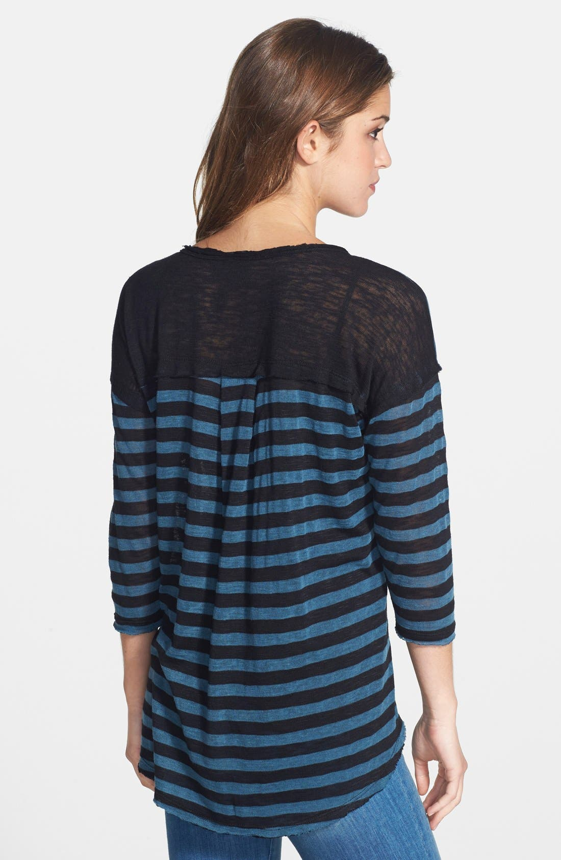 Alternate Image 2  - Bobeau V-Neck Long Sleeve Stripe Pullover
