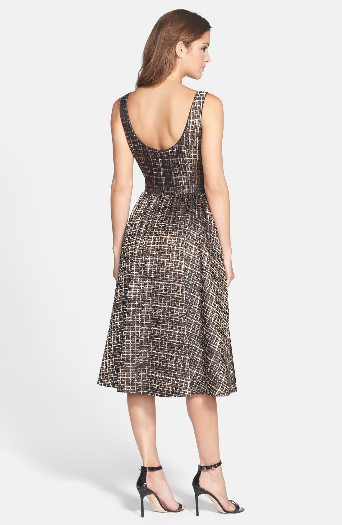 Alternate Image 2  - Donna Morgan Metallic Jacquard Midi Fit & Flare Dress