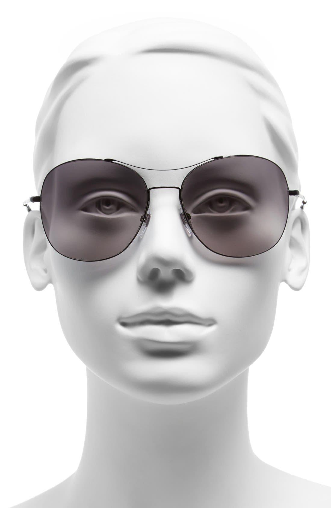 Alternate Image 2  - Gucci 58mm Navigator Stainless Steel Sunglasses