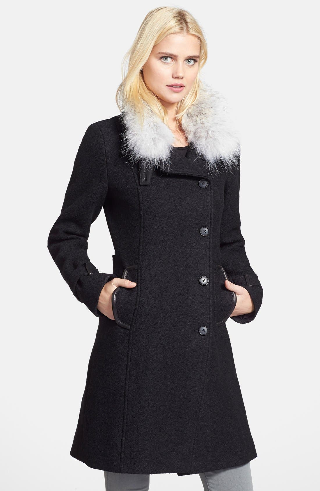 Alternate Image 1 Selected - Soia & Kyo Genuine Coyote Fur Collar Boucle Coat (Online Only)