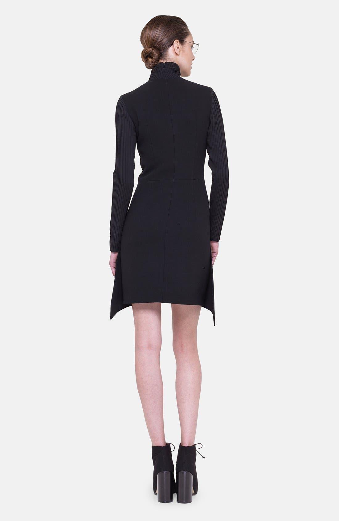 Alternate Image 2  - Akris Long Sleeve Silk Plissé Detail Dress