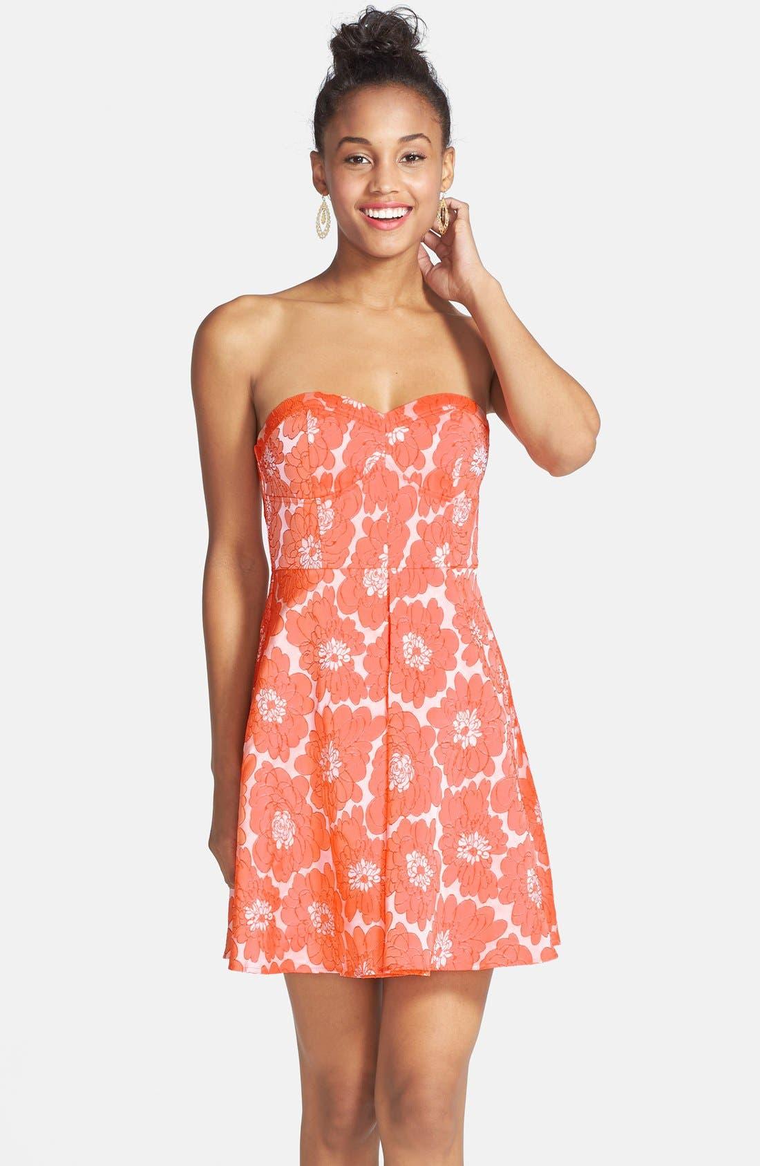 Main Image - a. drea Textured Floral Print Fit & Flare Dress (Juniors)