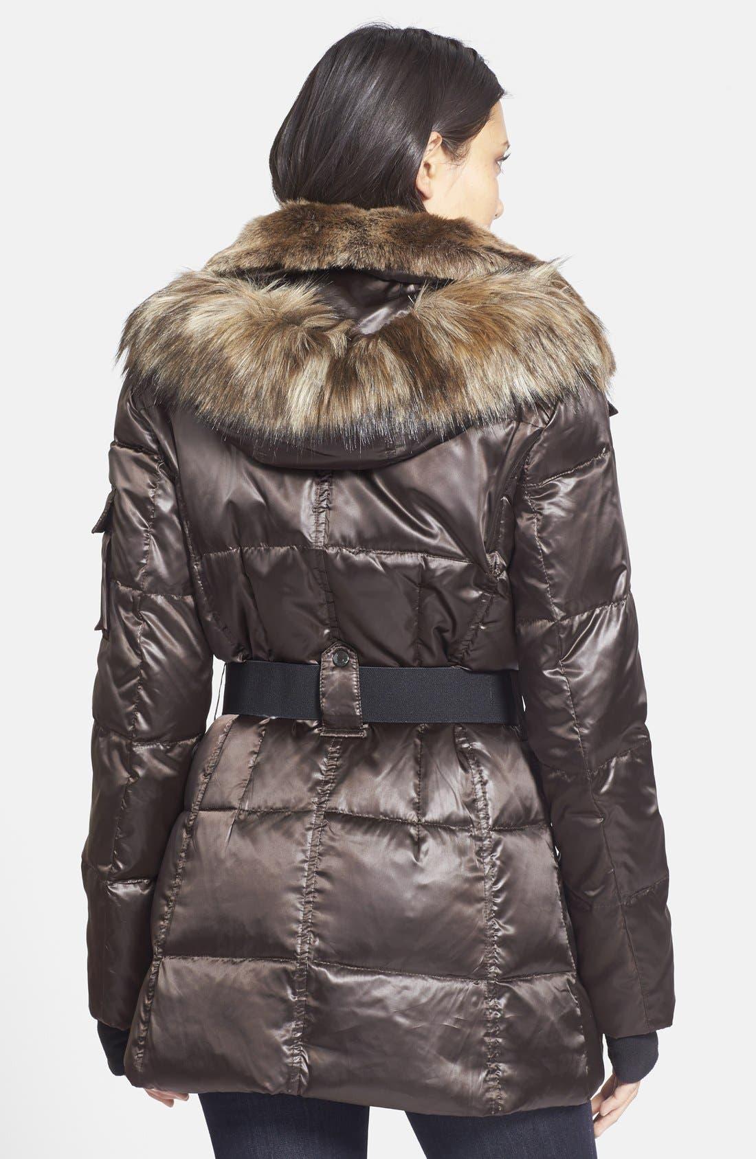 Alternate Image 2  - S13/NYC Faux Fur Trim Hooded Puffer Coat
