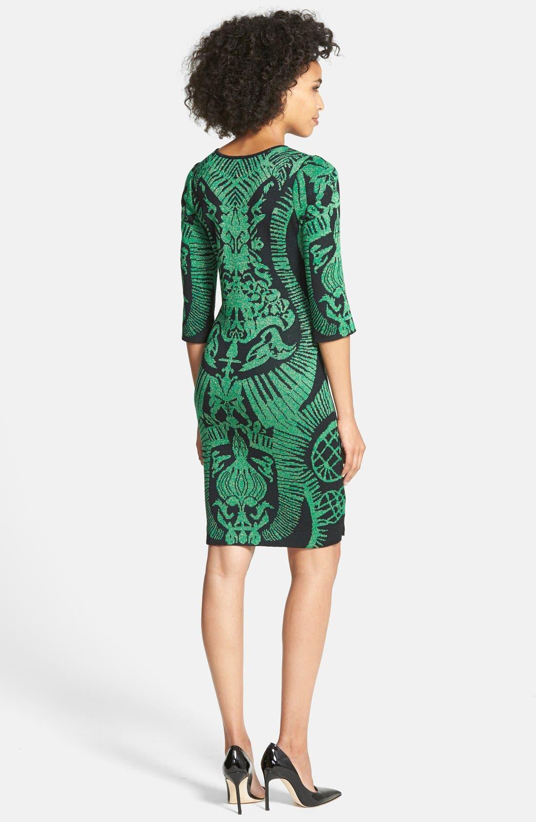 Alternate Image 2  - Ming Wang Jacquard Knit Sheath Dress