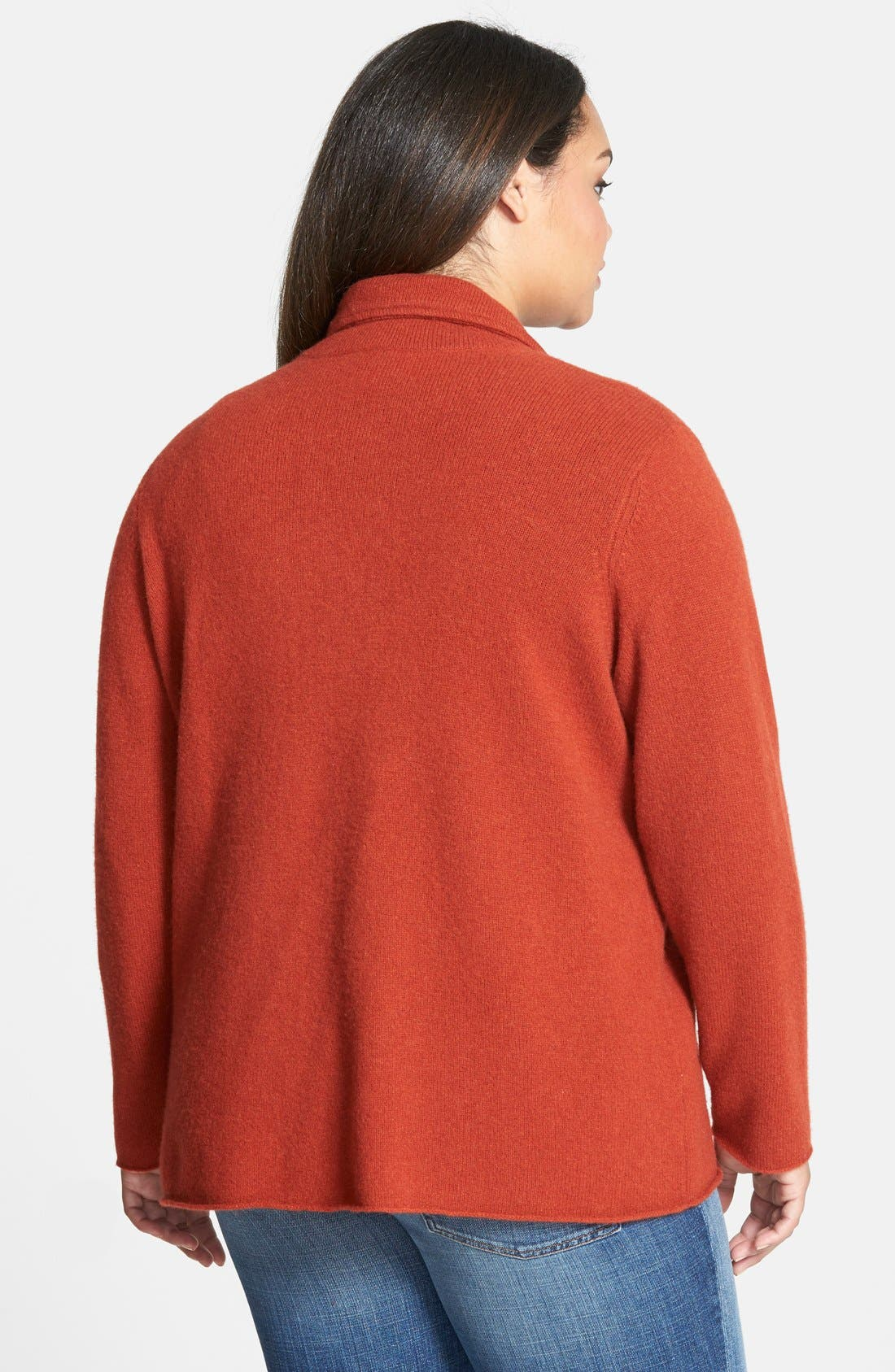 Alternate Image 2  - Eileen Fisher Collar Wool Sweater Jacket (Plus Size)