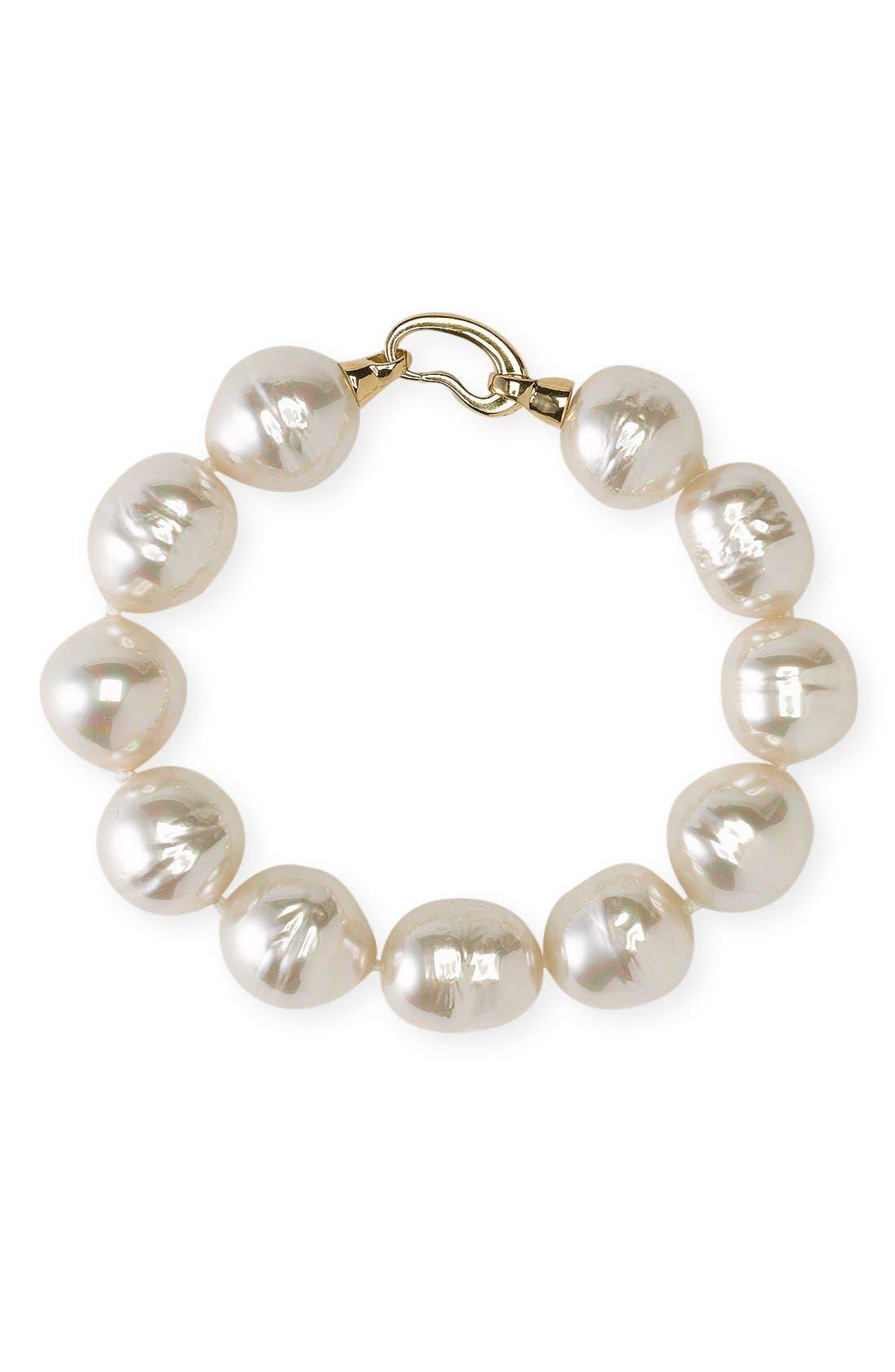 Main Image - Majorica 14mm Baroque Pearl Single Row Bracelet