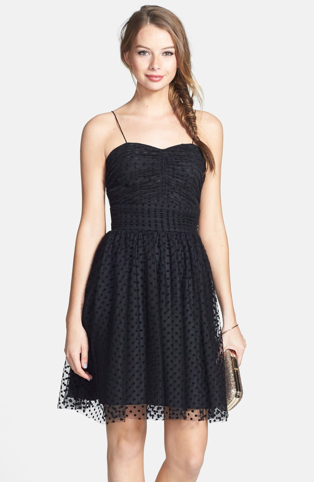 Main Image - Hailey by Adrianna Papell Polka Dot Fit & Flare Dress