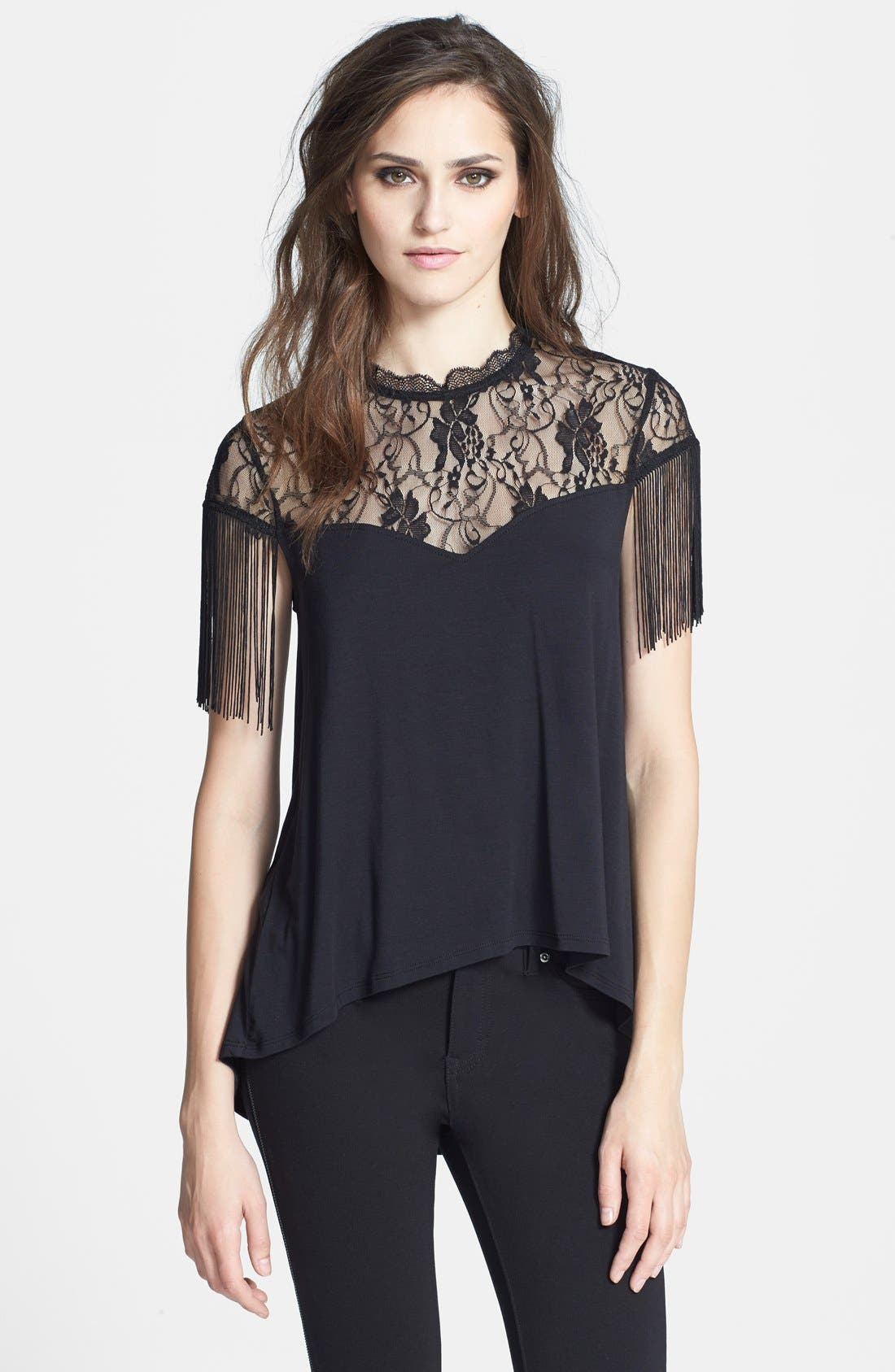 Main Image - Madison & Berkeley Fringe Shoulder Swing Top