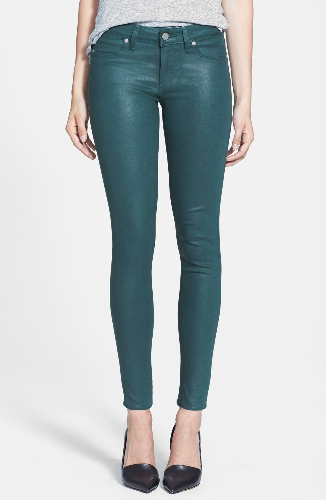 Alternate Image 1 Selected - Paige Denim 'Verdugo' Coated Ultra Skinny Ankle Jeans (Forest Silk)
