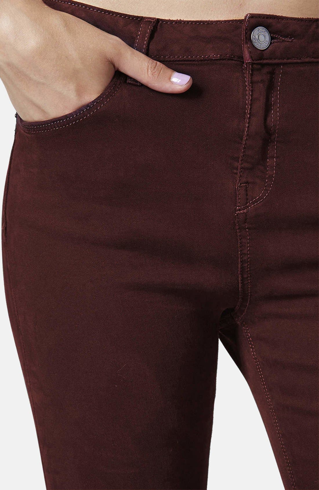 Alternate Image 4  - Topshop Moto 'Jamie' Ripped Jeans (Aubergine)