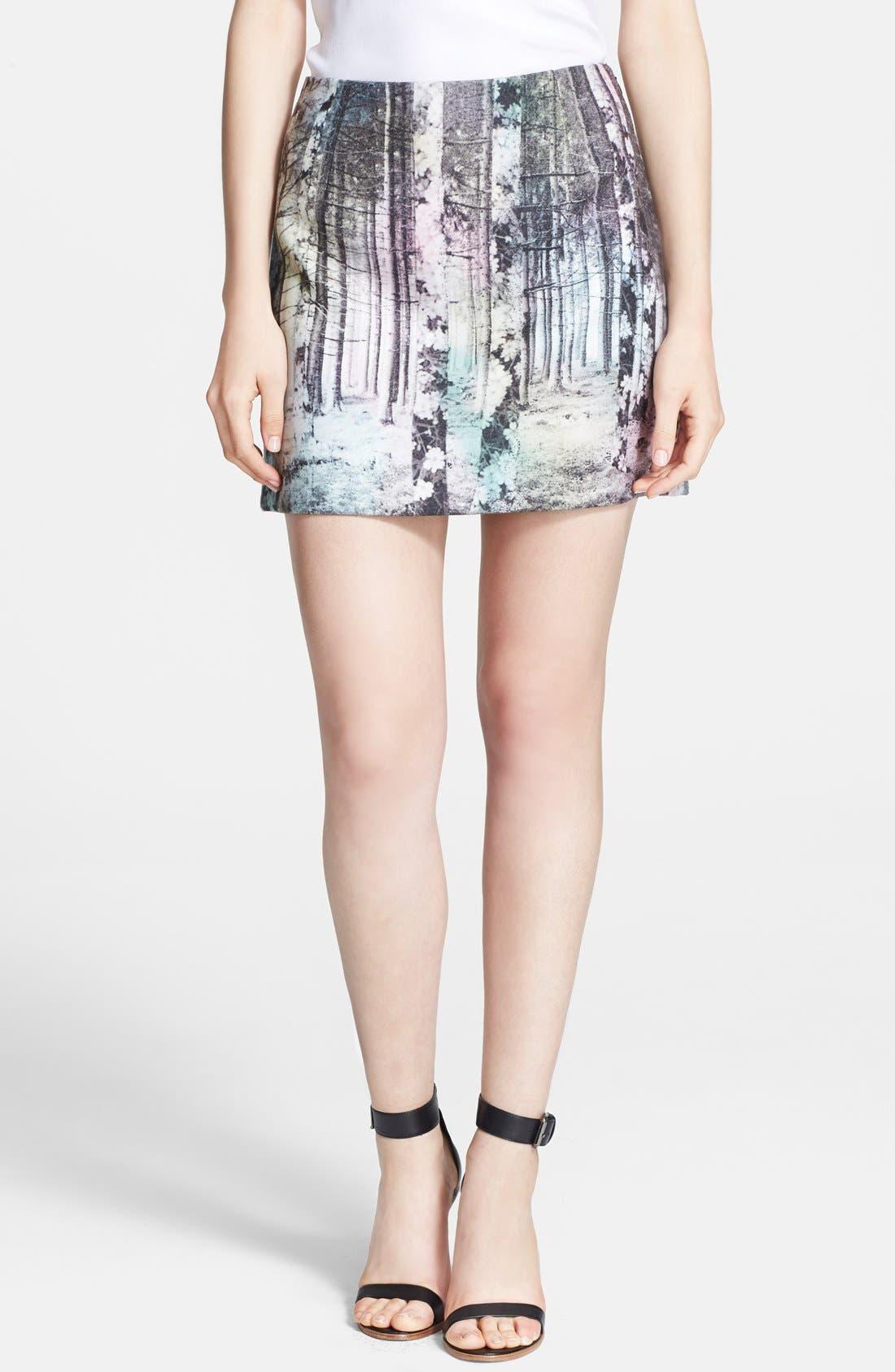 Main Image - Tibi 'Enchanted Forest' Print Miniskirt