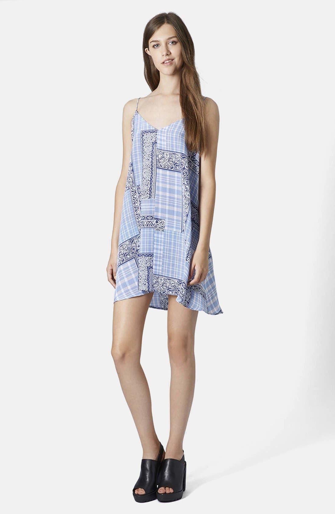 Alternate Image 4  - Topshop Boutique Tile Print Silk Slipdress