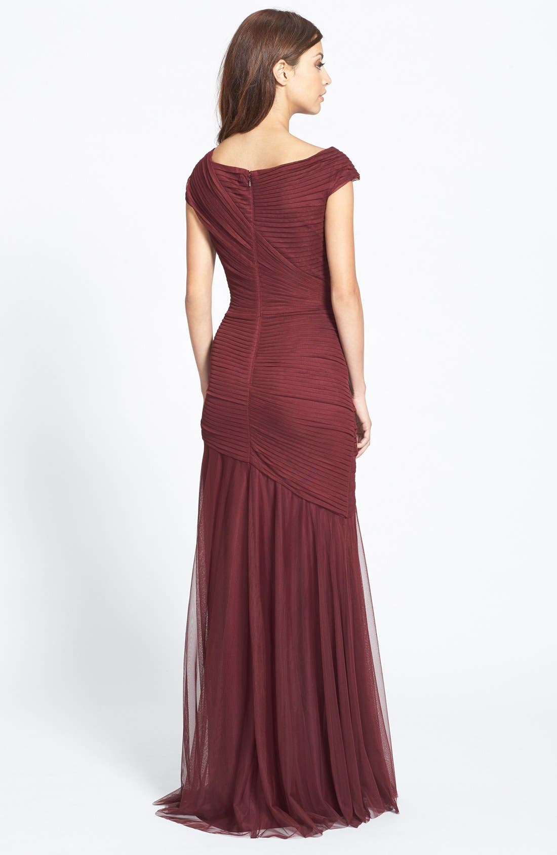 Alternate Image 2  - Tadashi Shoji Asymmetrical Ruched Cap Sleeve Jersey Gown