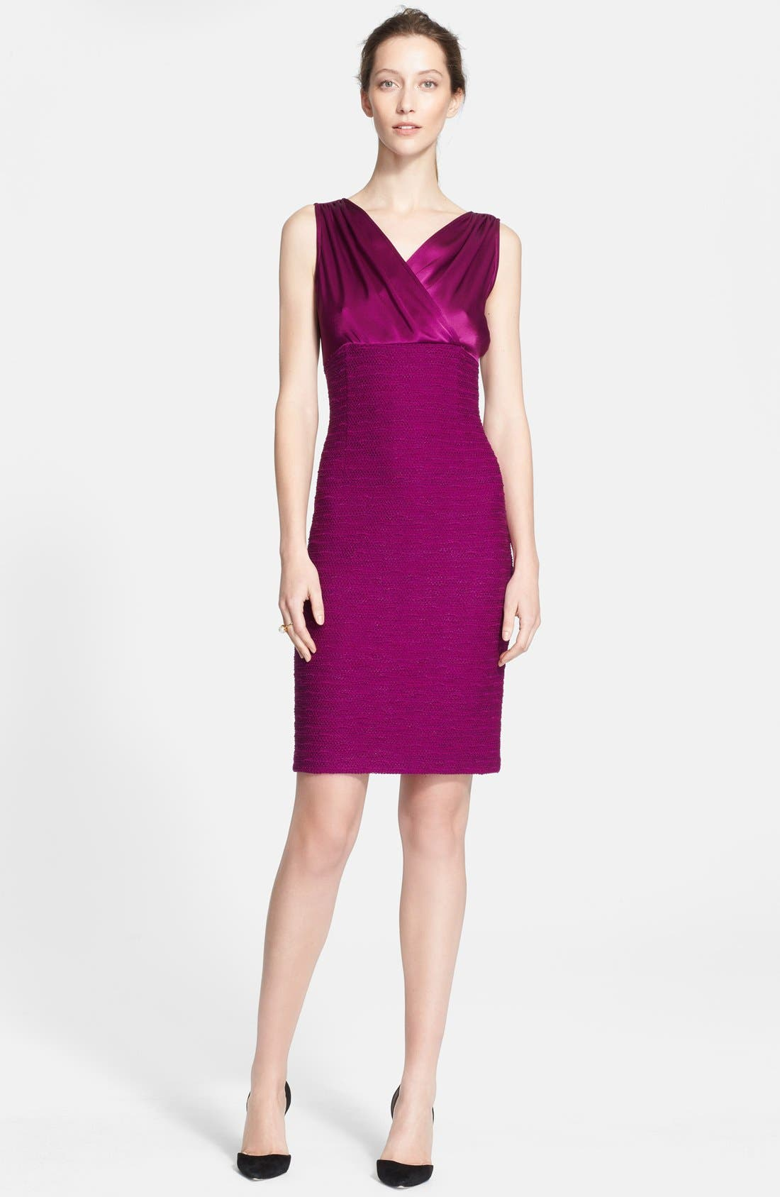 Main Image - St. John Collection Liquid Satin & New Shantung Knit Dress (Online Only)