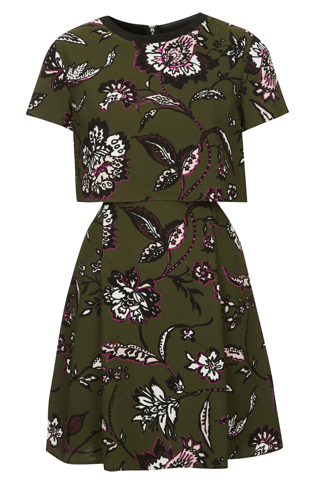 Alternate Image 3  - Topshop Floral Overlay Dress