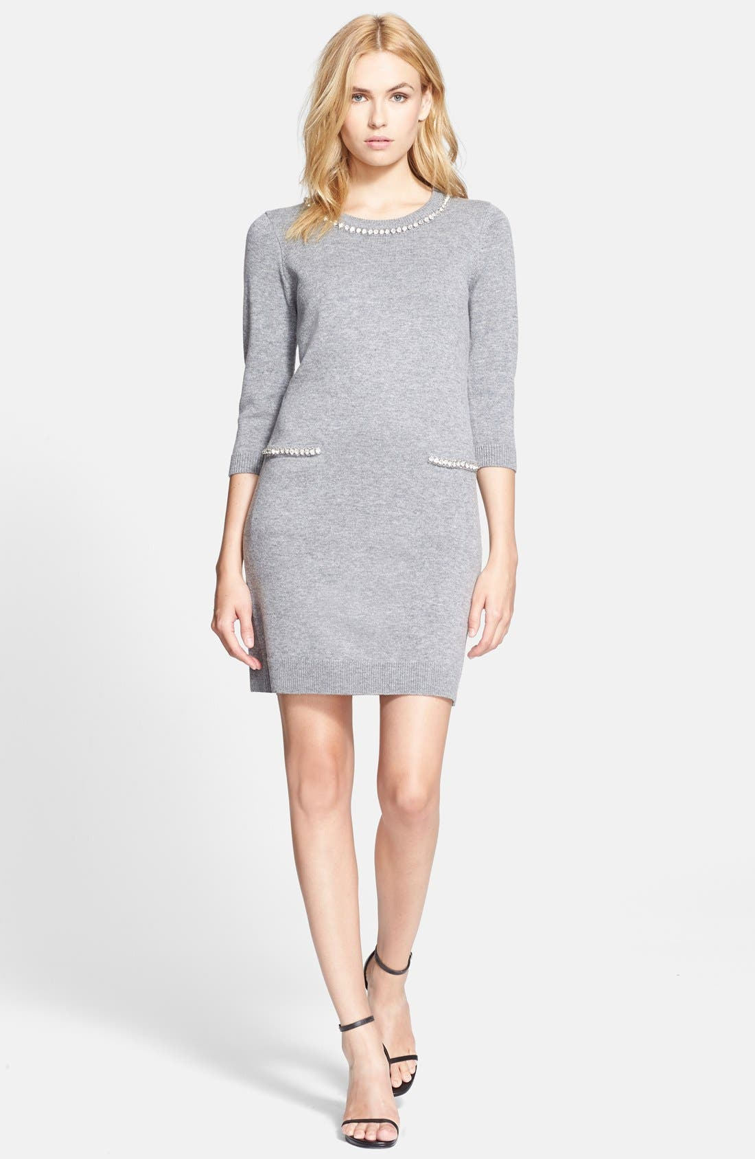 Alternate Image 1 Selected - Milly Embellished Trim Sweater Dress