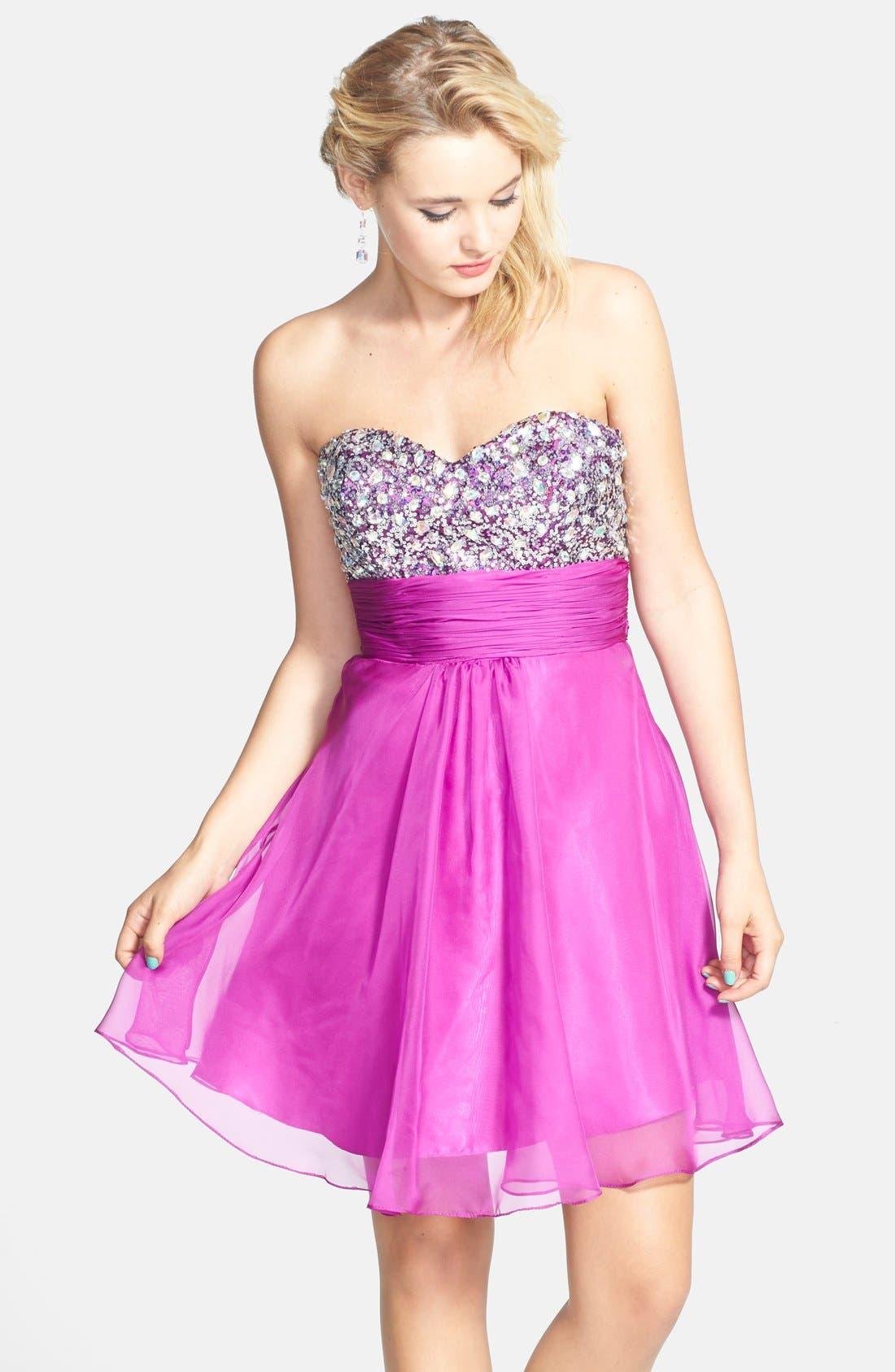 Alternate Image 1 Selected - Faviana Embellished Strapless Chiffon Fit & Flare Dress