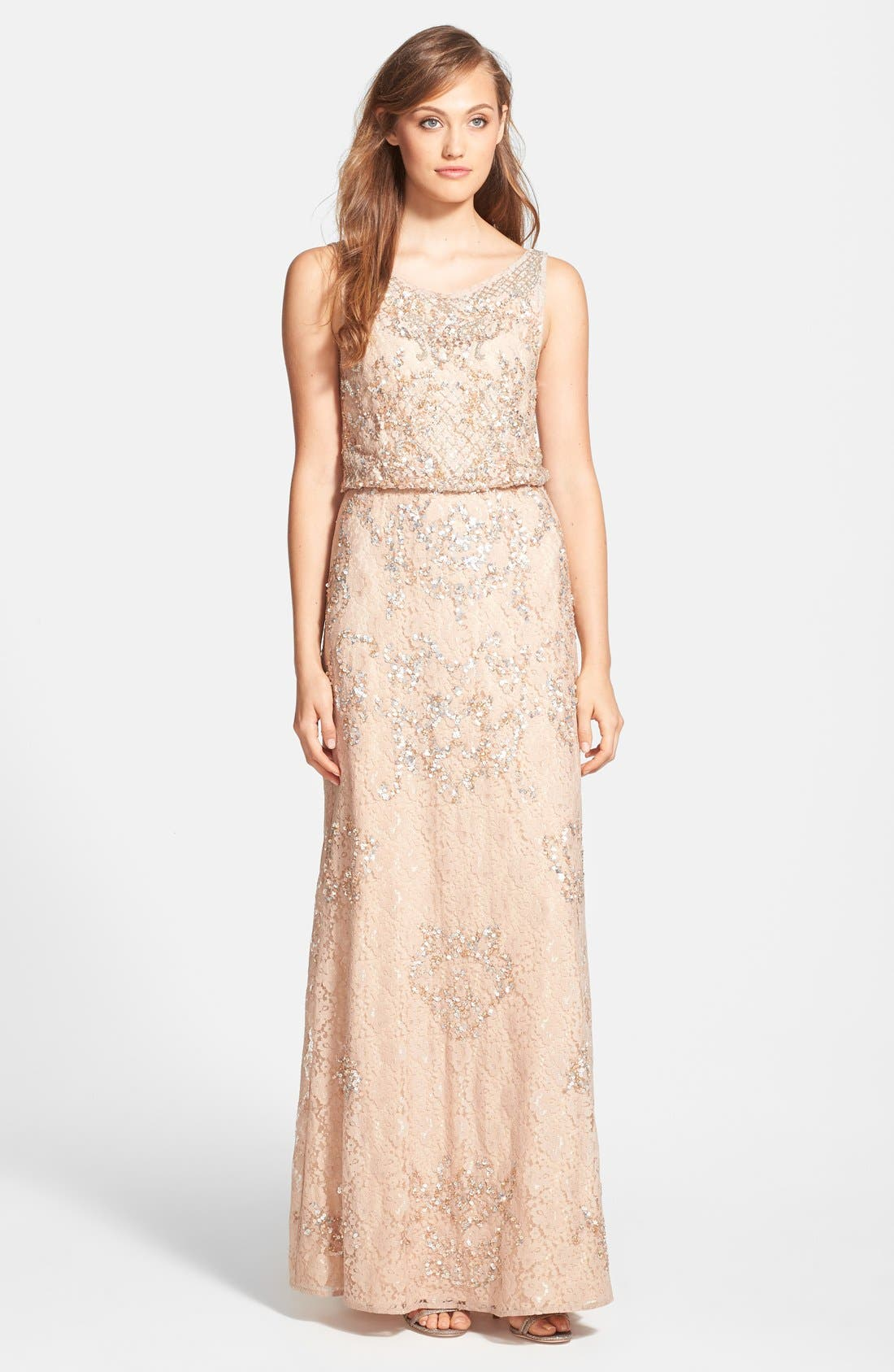 Alternate Image 1 Selected - Aidan Mattox Embellished Lace Blouson Gown