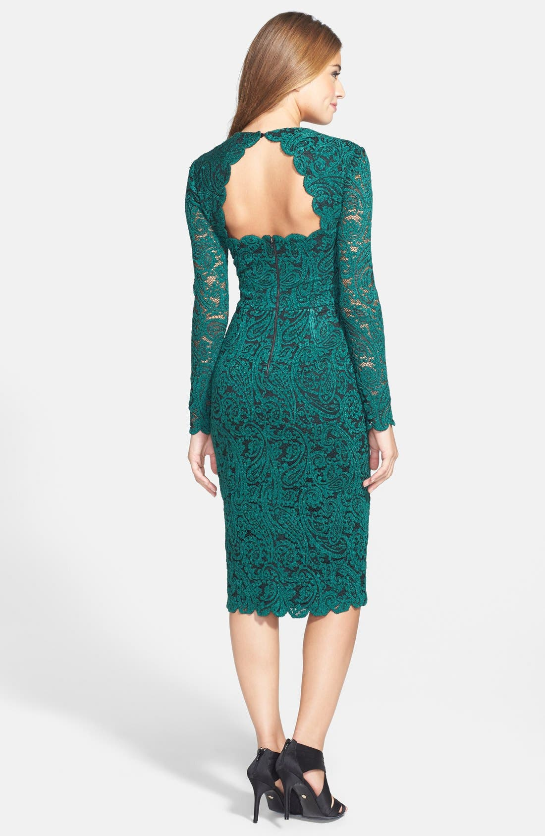 Alternate Image 2  - Maggy London Square Neck Lace Sheath Dress