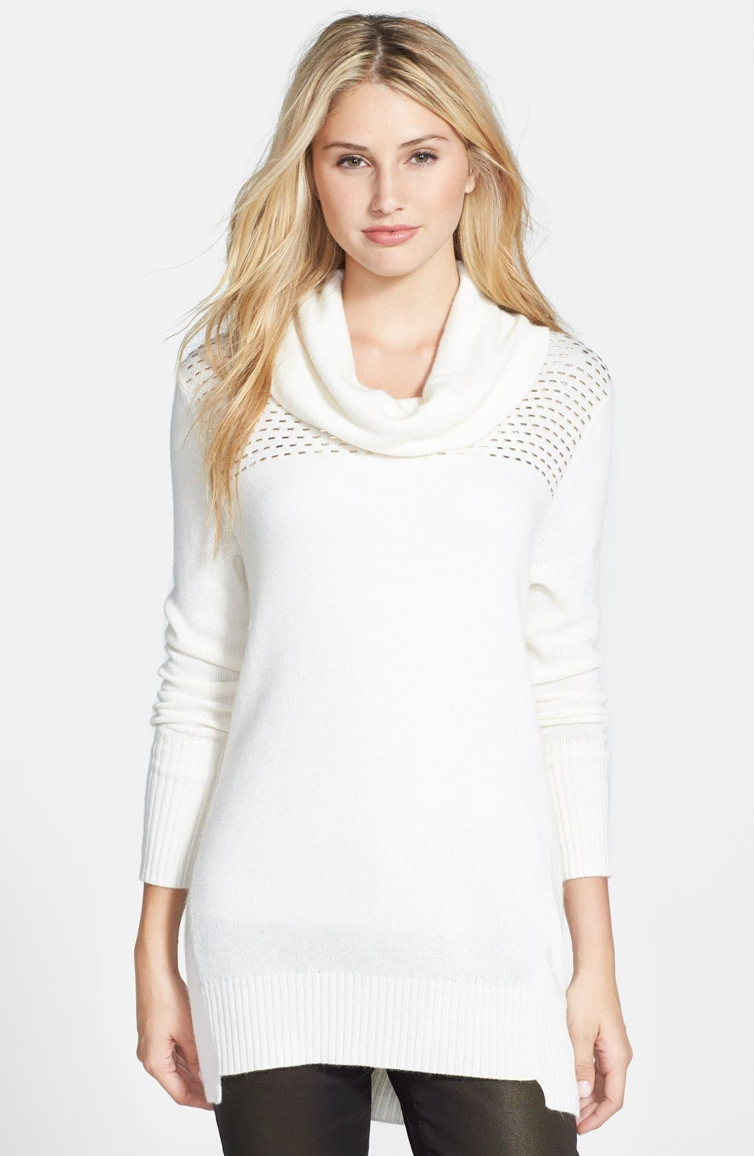 Alternate Image 1 Selected - DKNYC Studded Yoke Cowl Neck Pullover