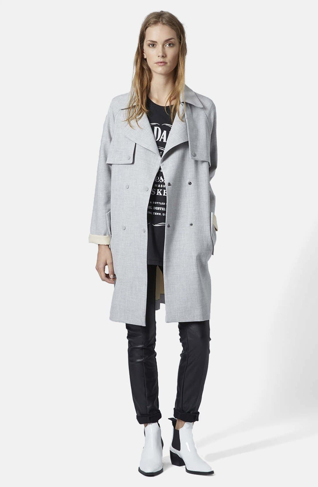 Alternate Image 4  - Topshop Soft Bonded Trench Coat