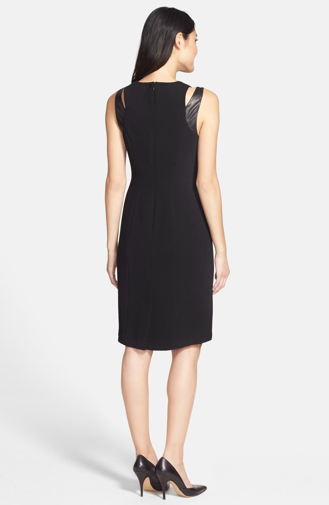 Alternate Image 2  - Adrianna Papell Faux Leather Trim Cutout Sheath Dress