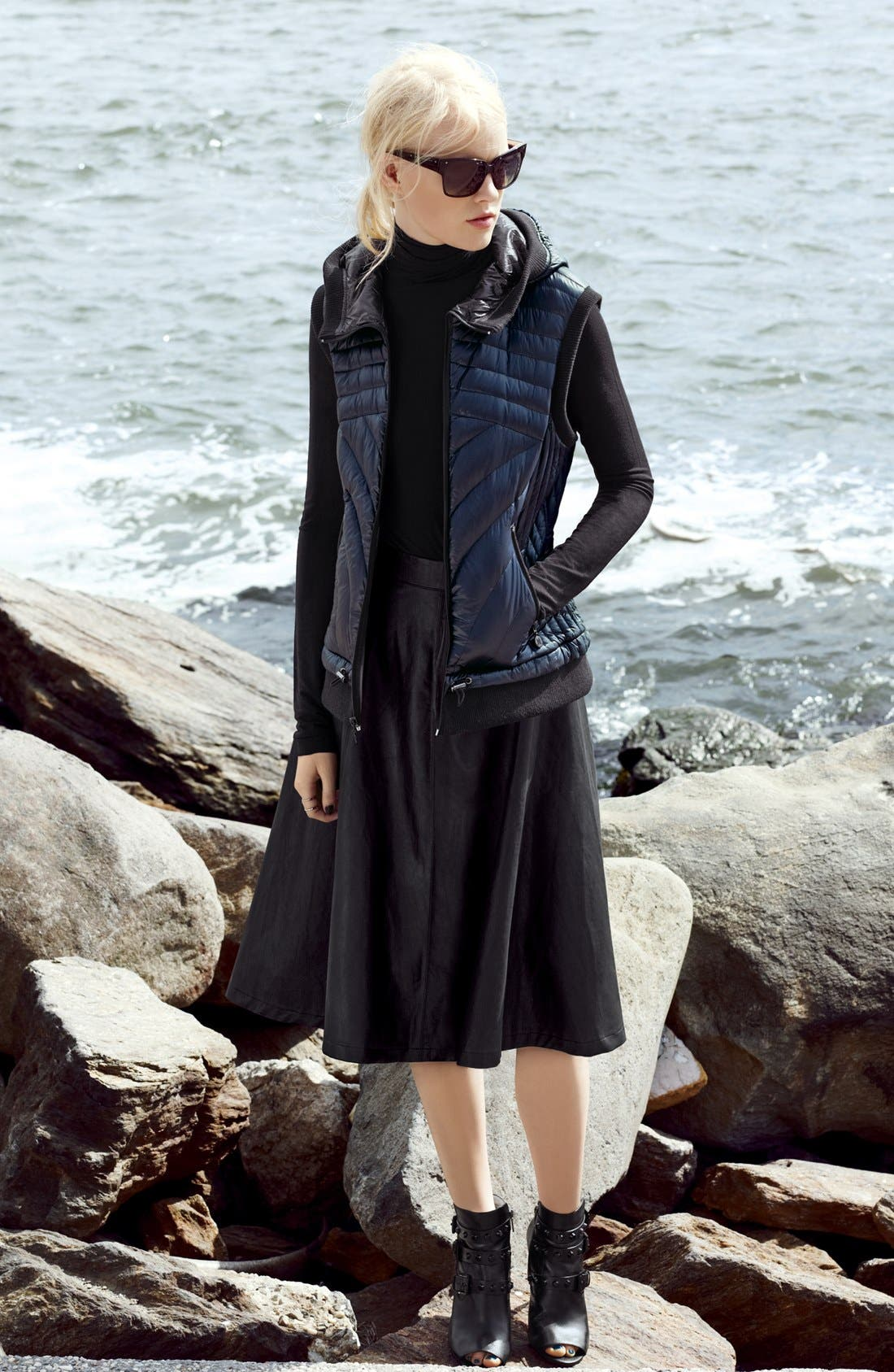 Alternate Image 2  - Halogen® Faux Leather A-Line Skirt (Regular & Petite)