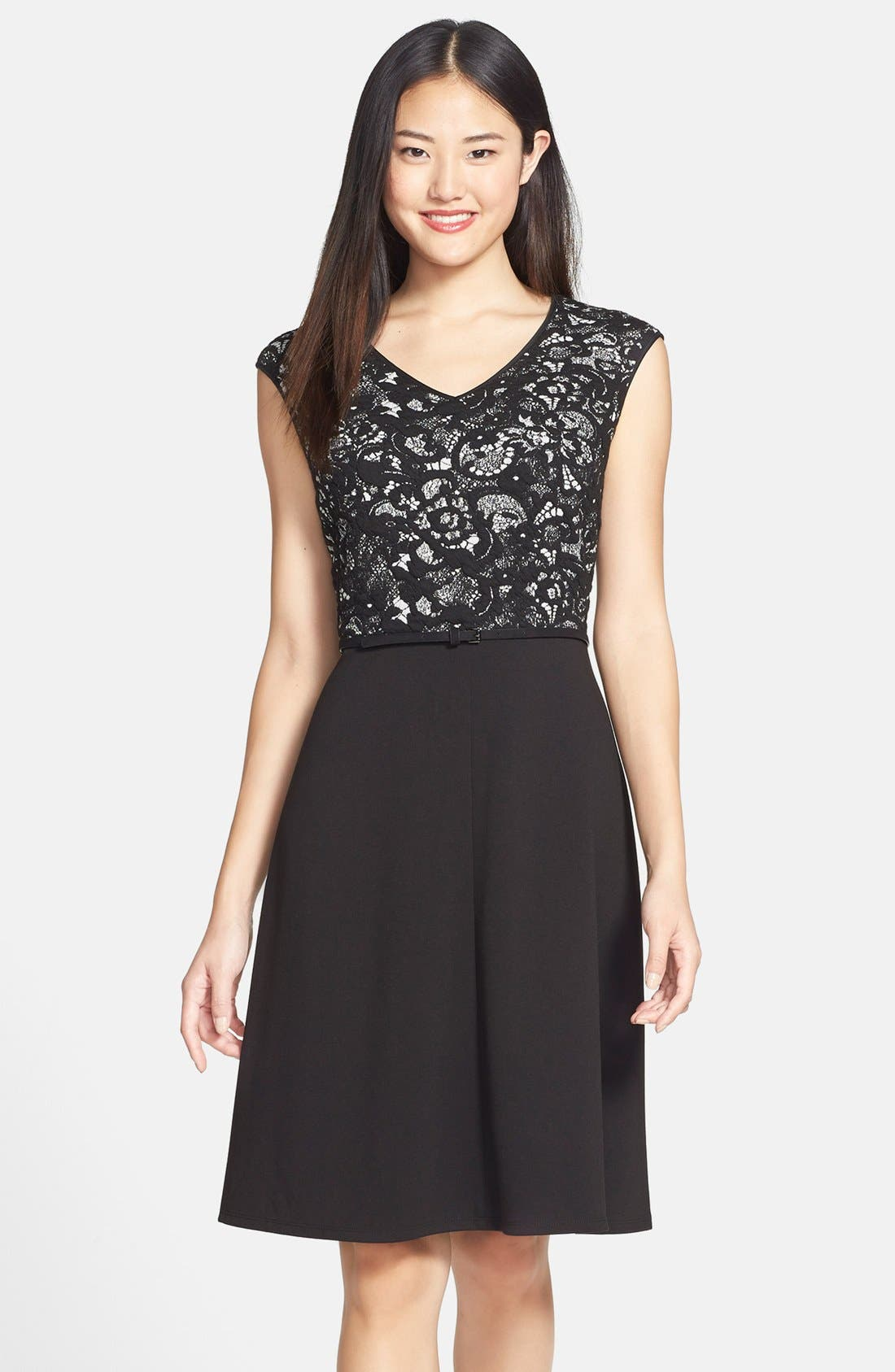 Main Image - Marc New York by Andrew Marc Belted Knit Fit & Flare Dress