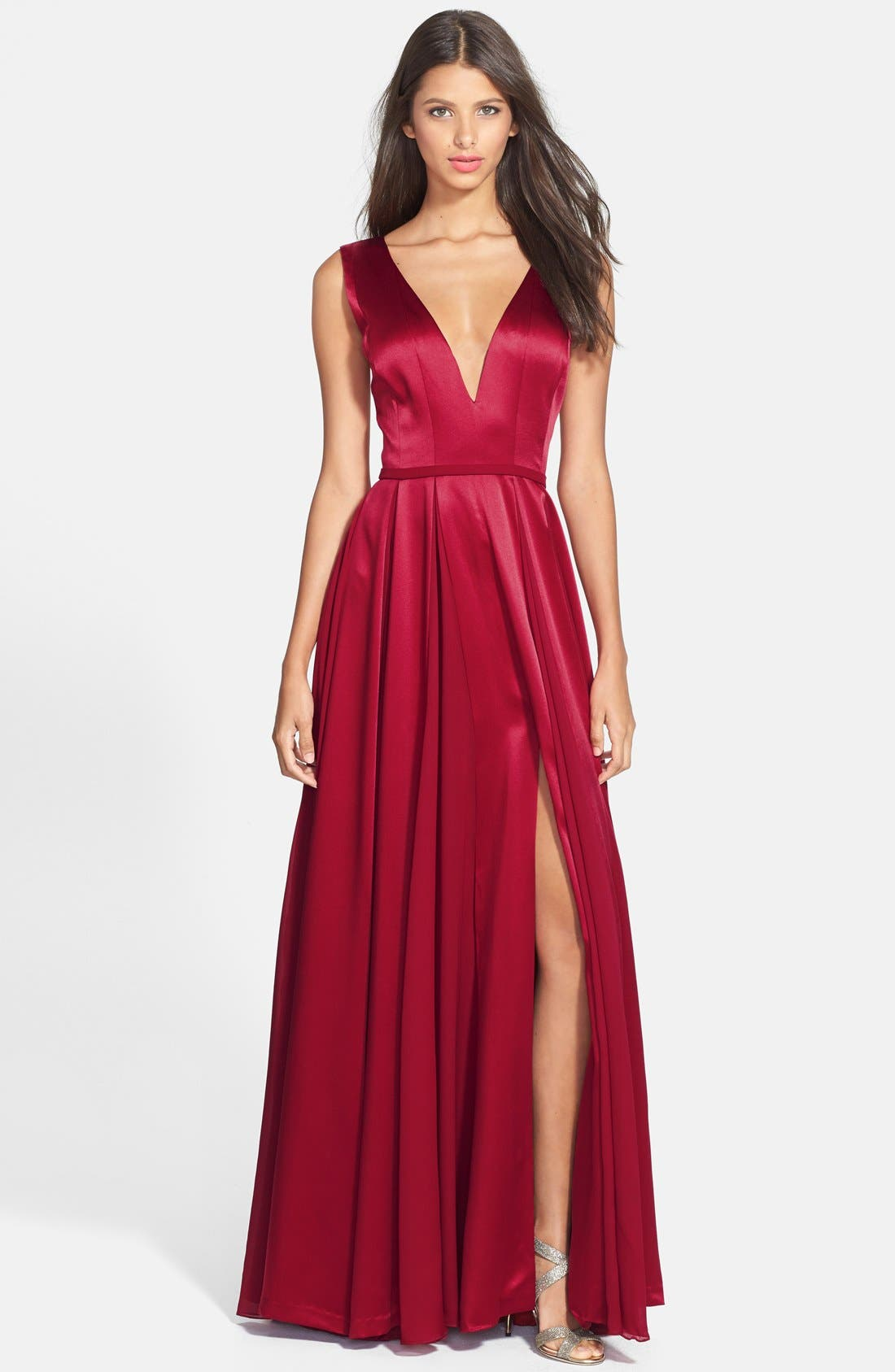 Main Image - Halston Heritage Satin Fit & Flare Gown