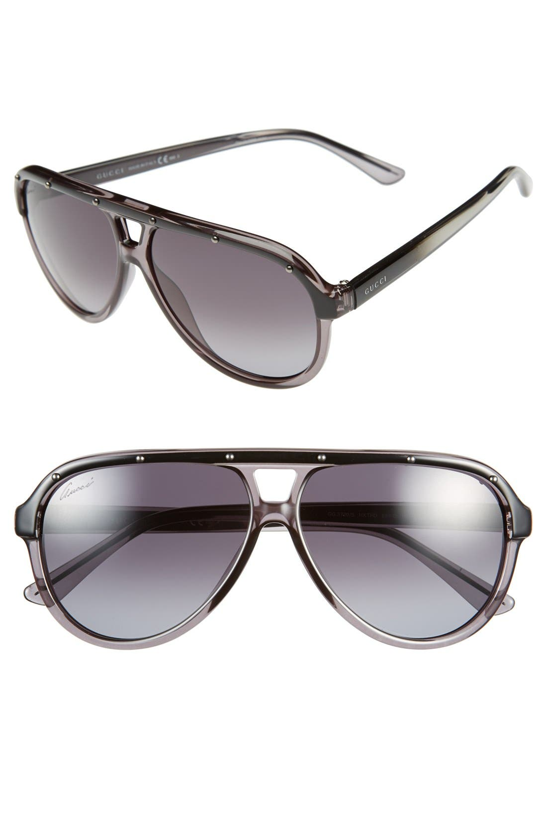 Main Image - Gucci 59mm Aviator Sunglasses