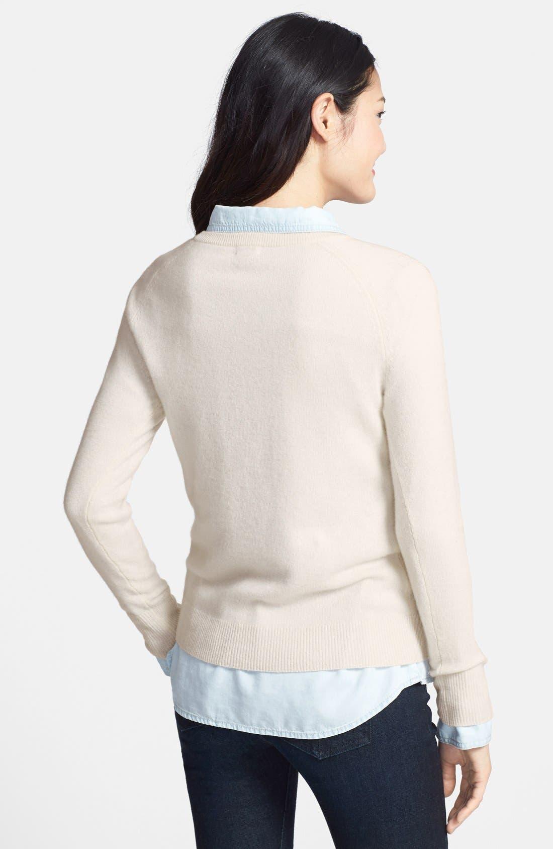 Alternate Image 2  - Halogen® Crewneck Cashmere Sweater (Regular & Petite)