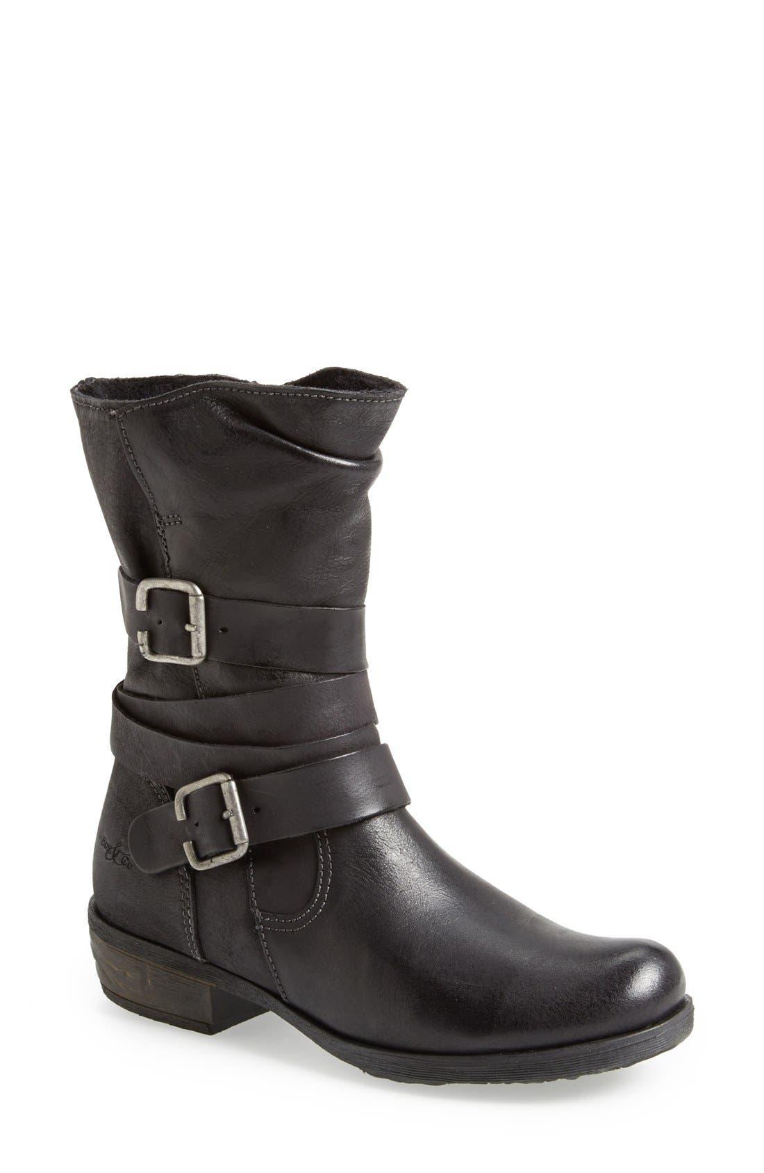 Alternate Image 1 Selected - Bos. & Co. 'Katie' Waterproof Leather Moto Boot (Women)