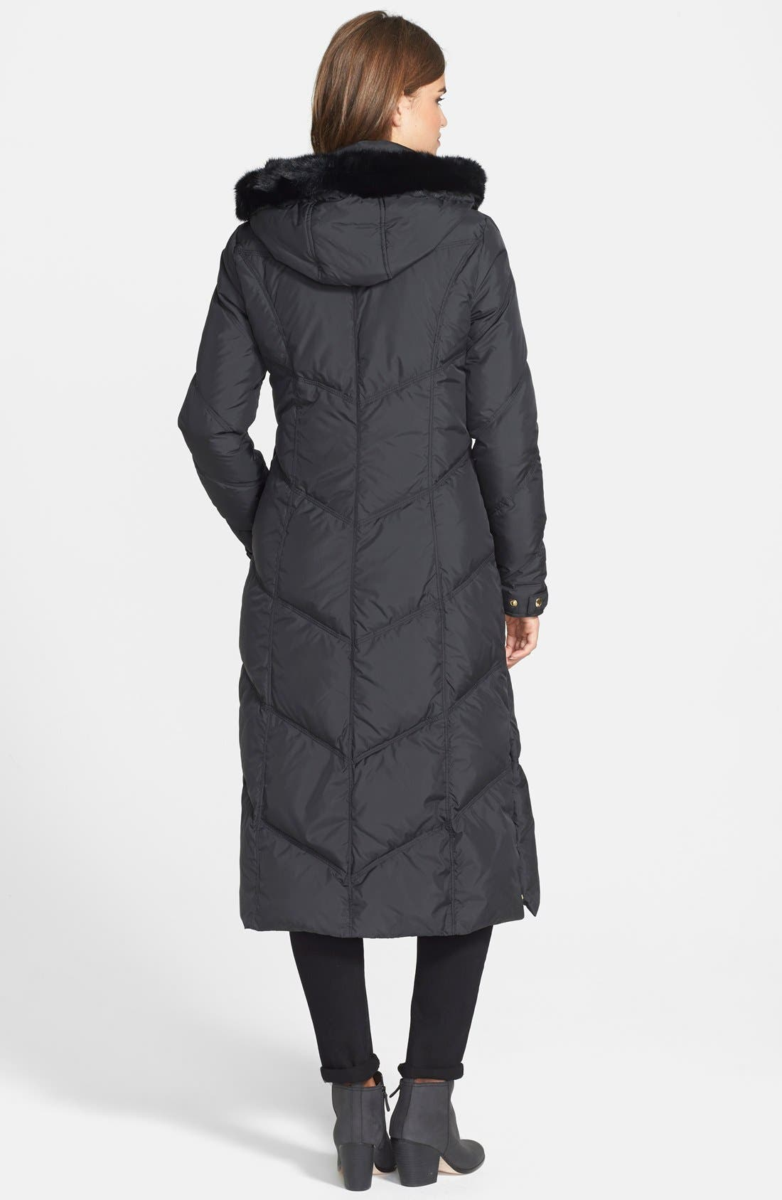 Alternate Image 2  - T Tahari 'Camy' Long Hooded Down Coat with Genuine Rabbit Fur Trim (Online Only)