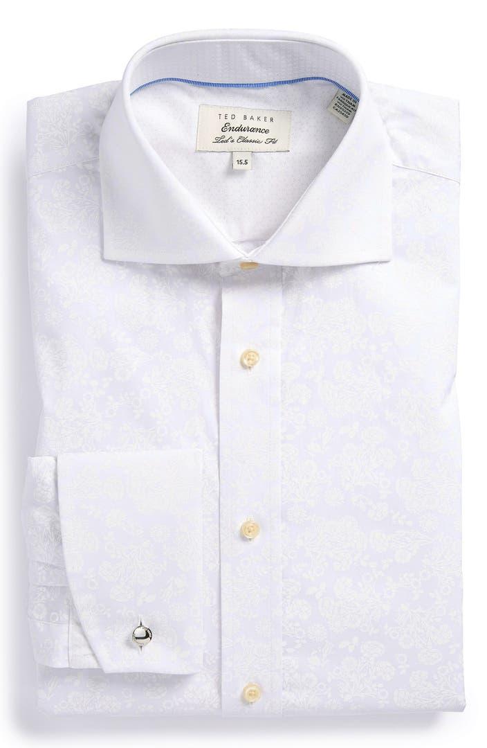 Ted baker london extra trim fit floral dress shirt nordstrom for Extra slim dress shirt