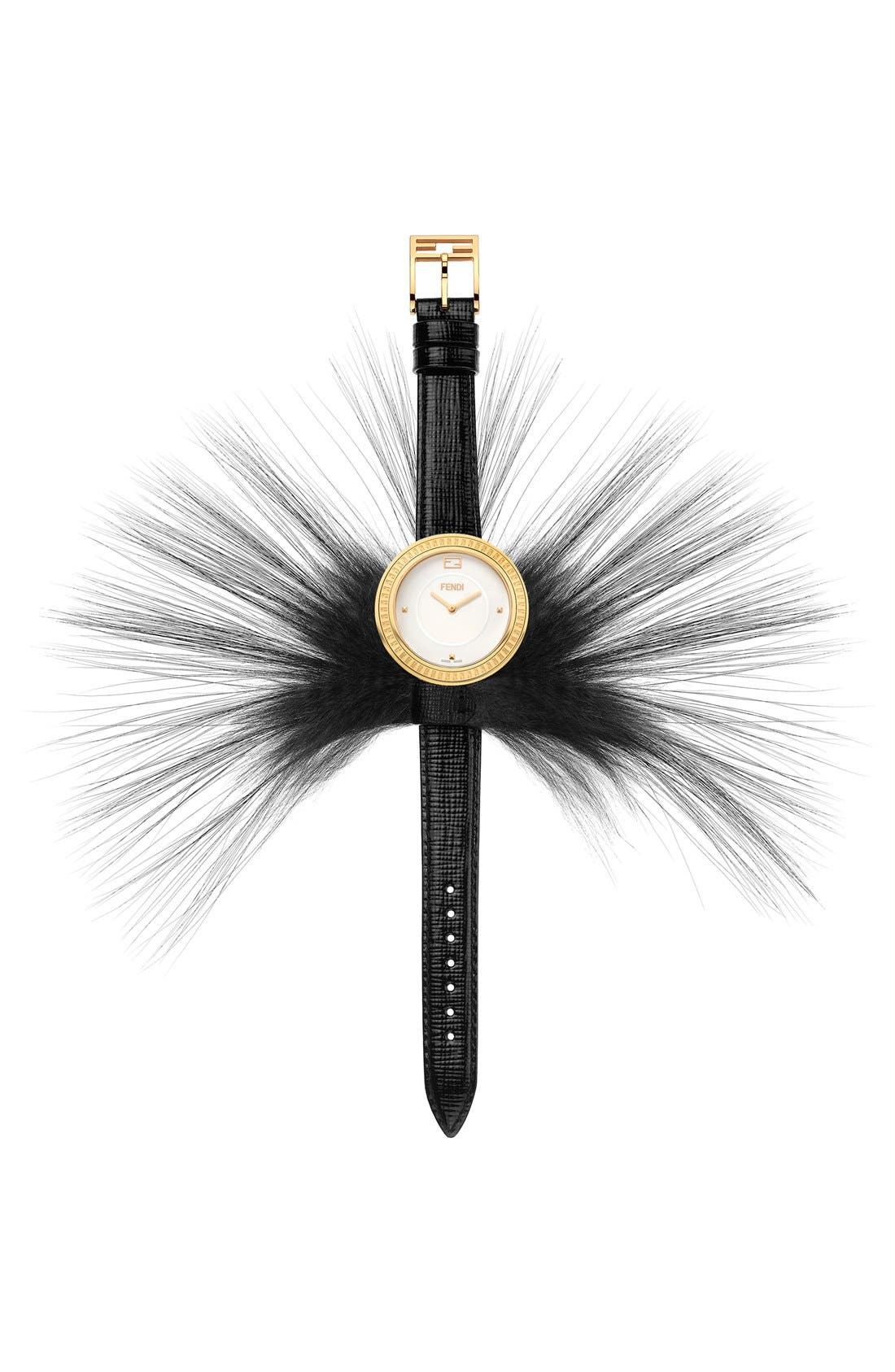 Alternate Image 2  - Fendi 'Fendi My Way' Genuine Fox Fur Detail Leather Strap Watch, 36mm