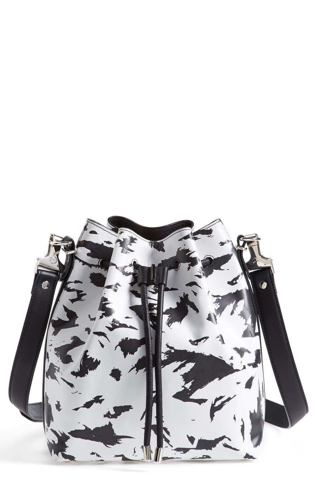 Main Image - Proenza Schouler 'Medium' Feather Print Leather Bucket Bag
