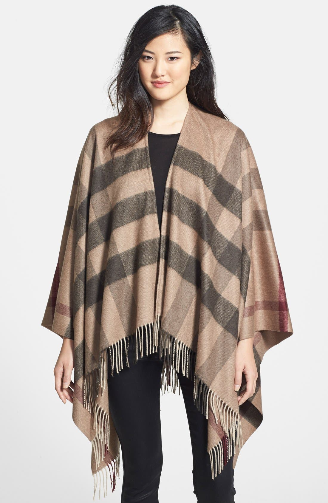 Alternate Image 1 Selected - Burberry Check Print Wool & Cashmere Cape