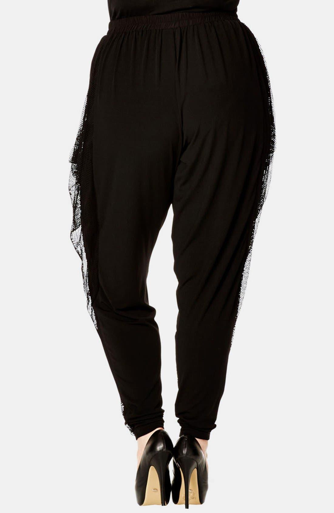 Alternate Image 2  - City Chic 'Urban Harem' Mesh Overlay Pants (Plus Size)