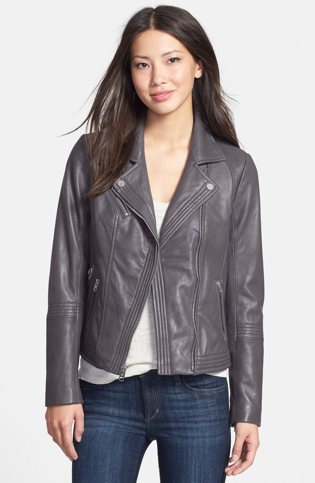 Alternate Image 1 Selected - MICHAEL Michael Kors Leather Moto Jacket (Online Only)