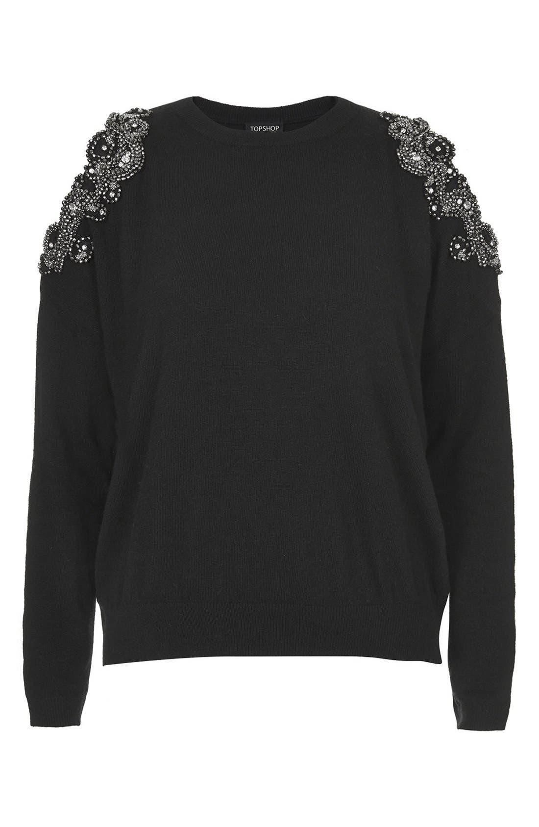 Alternate Image 3  - Topshop Embellished Cold Shoulder Sweater