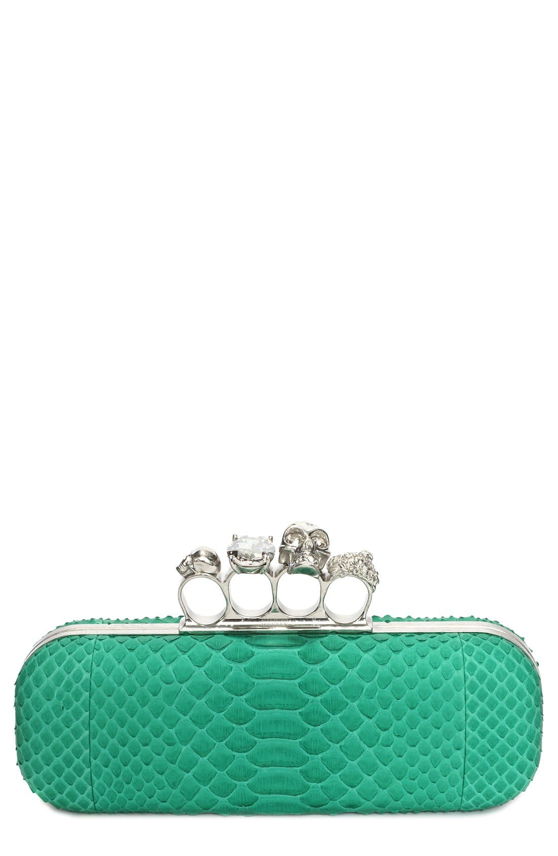 Alternate Image 1 Selected - Alexander McQueen Knuckle Clasp Genuine Python Clutch