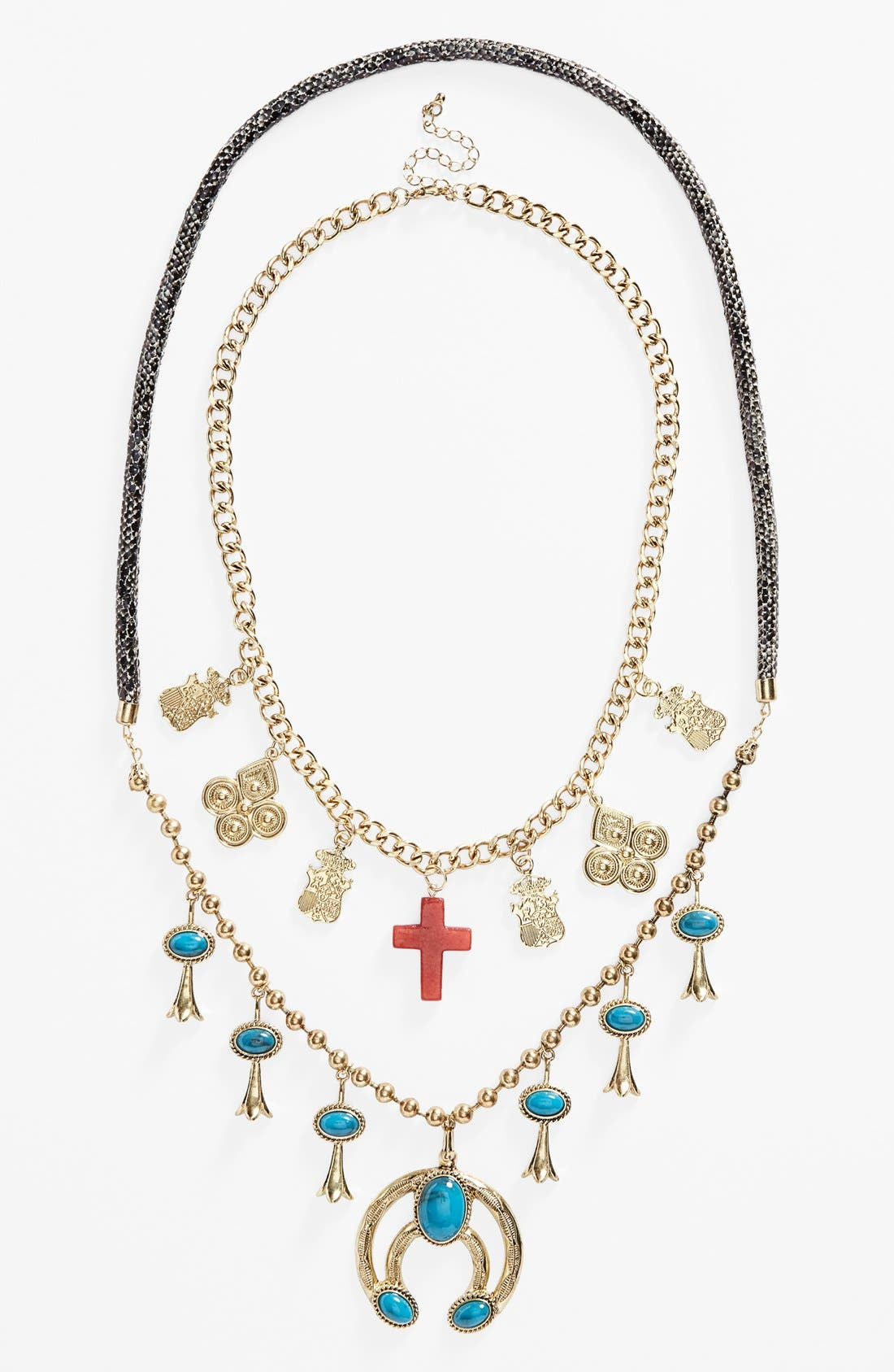 Alternate Image 2  - Topshop Cross & Turquoise Stone Charm Necklaces