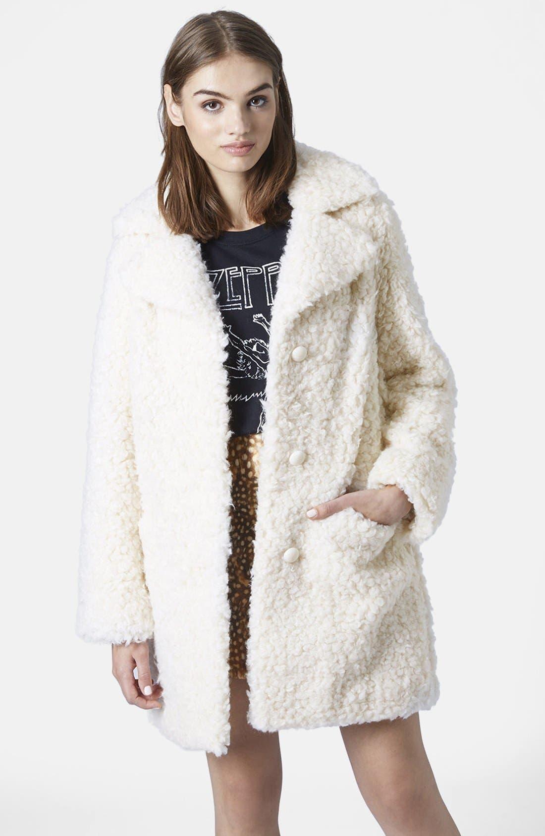 Main Image - Topshop Faux Fur Car Coat