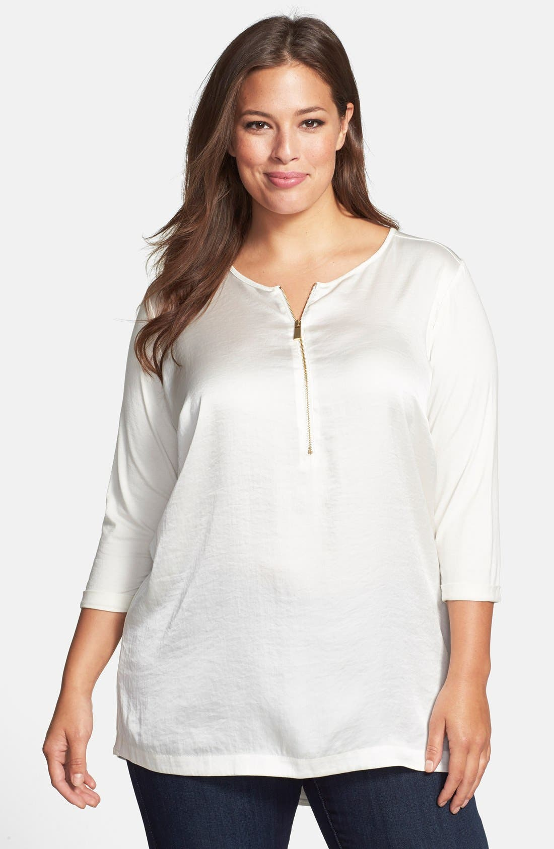 Alternate Image 1 Selected - Vince Camuto Zip Placket Mixed Media Tunic Top (Plus Size)