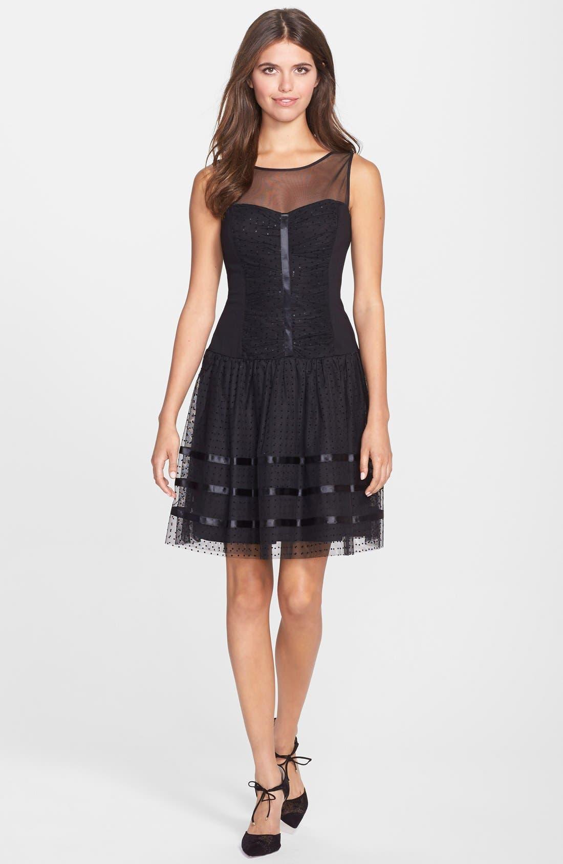 Alternate Image 3  - Betsey Johnson Illusion Yoke Dot Mesh Fit & Flare Dress