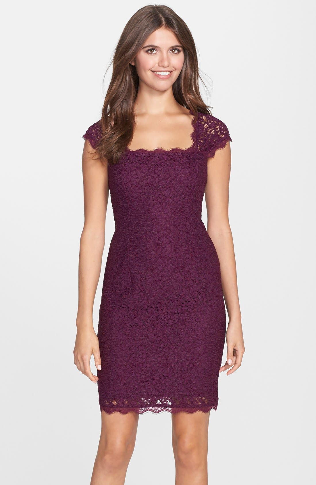 Alternate Image 1 Selected - Adrianna Papell Lace Sheath Dress (Regular & Petite)