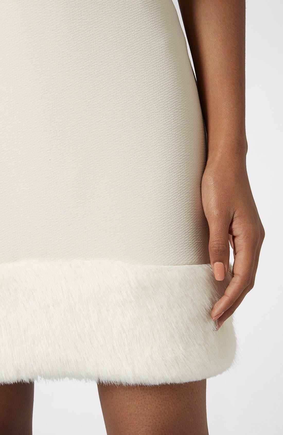 Alternate Image 4  - Topshop Faux Fur Hem Miniskirt